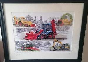 Large A3 Framed Print JCB 3cx Loader Excavator 75th Anniv Special Major Colours