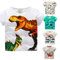 Toddler Kids Baby Boys Clothes Short Sleeve Dinosaur Print Tops T-Shirt Blouse