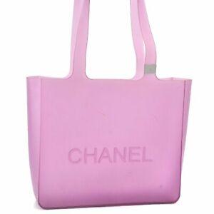 Authentic CHANEL Rubber Shoulder Tote Bag Purple Pink CC E0218