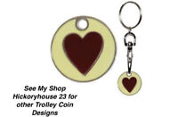 Love Heart Design SHOPPING TROLLEY Token Coin Key Rings  Fathers Day Gift Idea