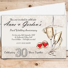10 Personalised 30th Pearl Wedding Anniversary Invitations Invites N16