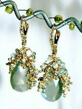 Moonstones Sapphire Gemstone Briolette Vermeil Earrings Sterling Silver