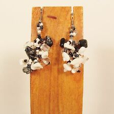 """1 1/2"""" Drop Style Black White Color Stone Chip Handmade Dangle Seed Bead Earring"""
