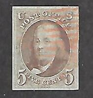 U.S. #1 Used Red Cancel Four (4) Margins Very Nice Copy Of The First Stamp Issue