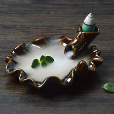 Glaze Handmade Censer Smoke Incense Smoke Cone Burner Backflow Holder Lotus