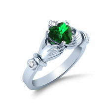 Real 14K White Gold Heart Shape Natural Emerald & Diamond Claddagh Ring
