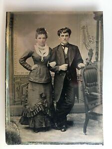 Original Antique 1800's Tintype Photo Couple / Man / Woman Tinted