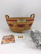 Longaberger 1999 Popcorn Basket Combo Red Trim Holly Liner