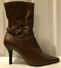 Predictions Brown Mid-Calf Women's Boots/Booties with  Silver Ring Accent Sz 8.5