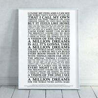 A Million Dreams (The Greatest Showman) Song Lyrics Print Poster (Unframed)