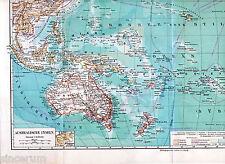 Australia Oceania 1898 orig. Karte New Zealand Fiji Hawaii Tahiti Vanuatu Samoa