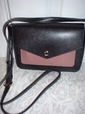 NWT Michael Kors Greenwich Leather Small Flap Crossbody Handbag Black Dark Rose