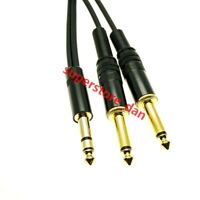 "6.35mm 1/4"" inch TRS Male to 2x Dual 1/4"" inch TS Male Insert Audio Cable"