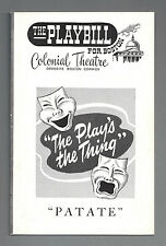 """Tom Ewell (Cast Signed) """"PATATE"""" Lee Bowman 1957 FLOP Boston Tryout Playbill"""