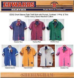 EDWARDS HEAVIES MENS SHORT SLEEVE SHIRT 100% COTTON TWILL SHIRTS EDWARD HEAVY 02