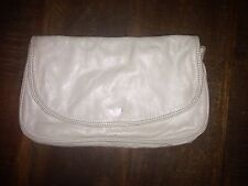 Vintage Off-white Leather Clutch 6x10in