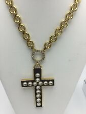 $58 Betsey Johnson  Throwback Betsey Large Faux Wood Cross V7