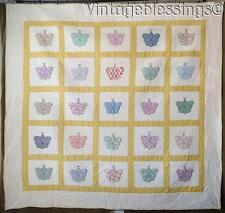 """Adorable Feedsack Prints! Vintage 30s Applique Butterflies Quilt 82"""" L x 87"""" W"""