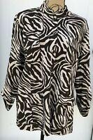 Chicos 3 Women's NWT $119 Stunner Farah Animal Print Linen Blend Jacket