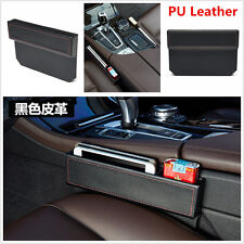 Black PU Leather Catch Catcher Caddy Car Seat Gap Slit Filler Pocket Storage Box