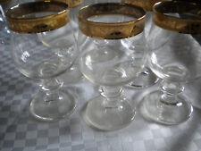 6 x Weinglas Römer Kristall Press Glas mit aufwendiger Gold Verzierung vintage