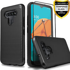 For LG Stylo 6 Phone Dual Layer Shockproof Cover + Tempered Glass Protector
