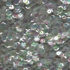 6mm Cup Sequins Gray Silver Hue Crystal Rainbow Iris Iridescent. Made in USA