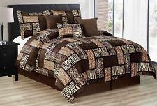 7Pcs Comforter set Zebra Giraffe King Size Tiger Multi Animal Print Brown beige