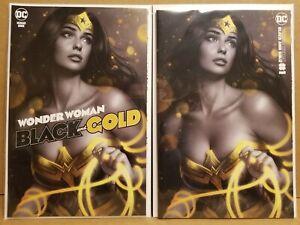 WONDER WOMAN BLACK AND GOLD #1 WARREN LOUW TRADE DRESS & MINIMAL VARIANT SET VF+