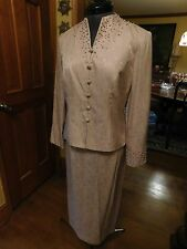 BEAUTIFUL OLD ROSE MOTHER OF THE BRIDE OR GROOM 2-PIECE SILK DRESS SUIT SIZE 6P