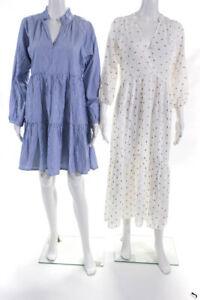 J Crew Anthropologie Womens Swiss Dot Striped Dress Size Small Lot 2