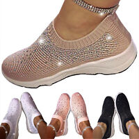 Women Slip On Sock Shoes Stretch Glitter Sneaker Fitness Walking Gym Flat Shoes