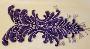Vintage Large Purple Bodice Beaded Sequined Applique Sew On Crafts Sequin 10x18""