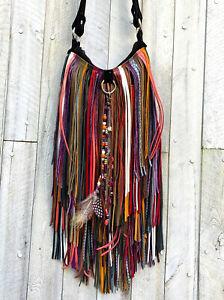 CARNIVAL black leather BOHO Southwest FESTIVAL hobo HANDMADE USA fringe