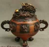 """8"""" Old Chinese Bronze Dragon Beast Head Incense Burner Censer Incensory Thurible"""
