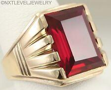 HEAVY 9 GRAM Antique Art Deco 13ct Rectangular Ruby 10k Solid Gold Men's Ring
