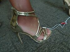 👠  MIRROR GOLD STRAPPY SHOES. ZIP BACK SLIM HEEL  NWT. SIZE 3. ATMOSPHERE