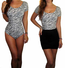 Ladies Women Body Bodysuit Stretch Leotard Short Sleeve Animal Print Top Size 12