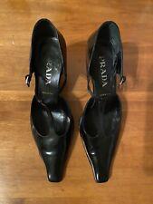 90s PRADA / Black Leather T Strap Pump / Heel / Size 39.5 —— Nearly Brand New