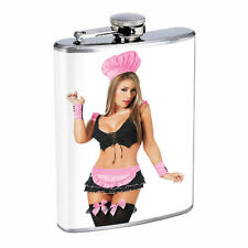 Waitress Pin Up Girls D5 Flask 8oz Stainless Steel Hip Drinking Whiskey Costume