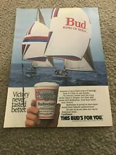 Vtg 1987 BUDWEISER STARS & STRIPES SAILBOAT AMERICA'S CUP Poster Print Ad BEER