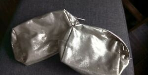 Two Gold Zipped Cosmetic Bags