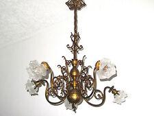 Antik  Jugendstil Französische Messing-Glas Kronleuchter, Lüster 5 Flammig