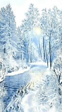 Blue Winter Forest Fabric Quilt Panel 36 x 44 Inches
