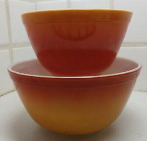 2 Vintage Pyrex FLAMEGLO 402 & 401 Red Orange Nesting Mixing Bowls