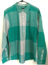 Men's Size XL Hurley Teal Blue Gray Plaid/Checkered Button Up Long Sleeve Shirt