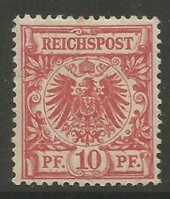 STAMPS-GERMANY. 1891. 10pf Rose Carmine. SG: 48. 1 Toned perf, Fine Mint Hinged