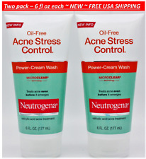 2pk Neutrogena Acne Stress Control Oil-Free Power-Cream Wash 6oz each ~ NEW ~ c2