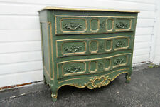 French Carved Dresser Painted Green with Gold Highlights by Baker 1276