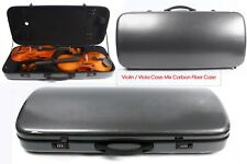 Violin/Viola Case Mixed Carbon Fiber Adjustable Size Double Violin case Black